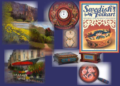 collage of artwork and books of Diane Edwards Nordic Arts
